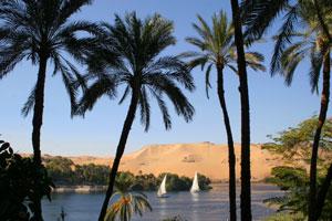 nile river at aswan, egypt