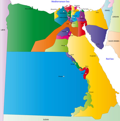 Egypt governorates and capital cities map