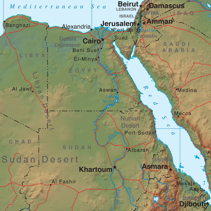 relief map of Egypt