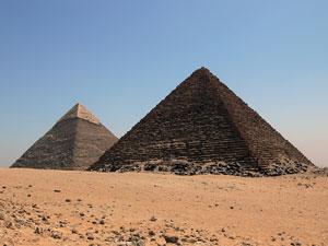 great pyramid and pyramid of khafre - giza, cairo, egypt