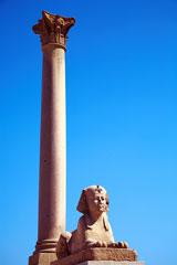 sphinx and Pompey's pillar, Alexandria, Egypt